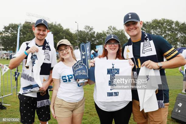Tottenham Hotspur fans attend a tailgate party prior to the start of a International Champions Cup 2017 game against Paris SaintGermain at Camping...