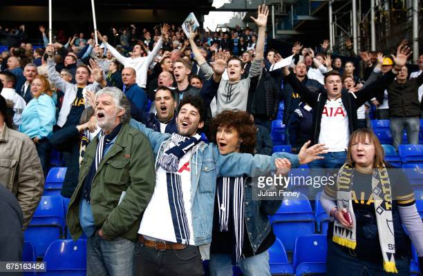 Tottenham Hotspur fans celebrate after the Premier League match between Tottenham Hotspur and Arsenal at White Hart Lane on April 30 2017 in London...