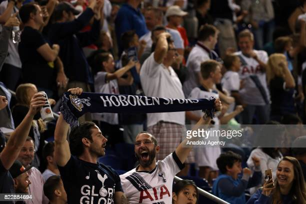 Tottenham Hotspur fans cheer for their team during International Champions Cup 2017 friendly match between AS Roma and Tottenham Hotspur at Redbull...
