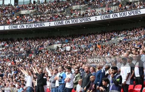Tottenham Hotspur fans during the Premier League match between Tottenham Hotspur and Chelsea at Wembley Stadium on August 20 2017 in London England