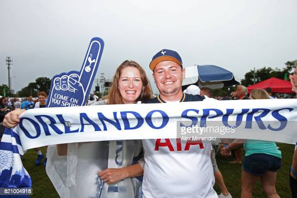 Tottenham Hotspur fans hold scarf in the fan zone prior to a International Champions Cup 2017 match between Paris SaintGermain and Tottenham Hotspur...