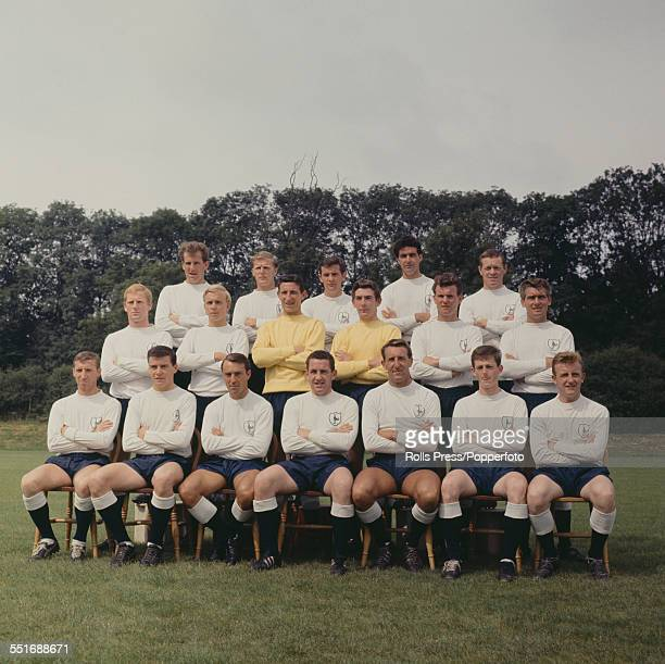 Tottenham Hotspur FC 196465 team squad members pictured at their training ground at Cheshunt Hertfordshire on 31st July 1964 Back row left to right...