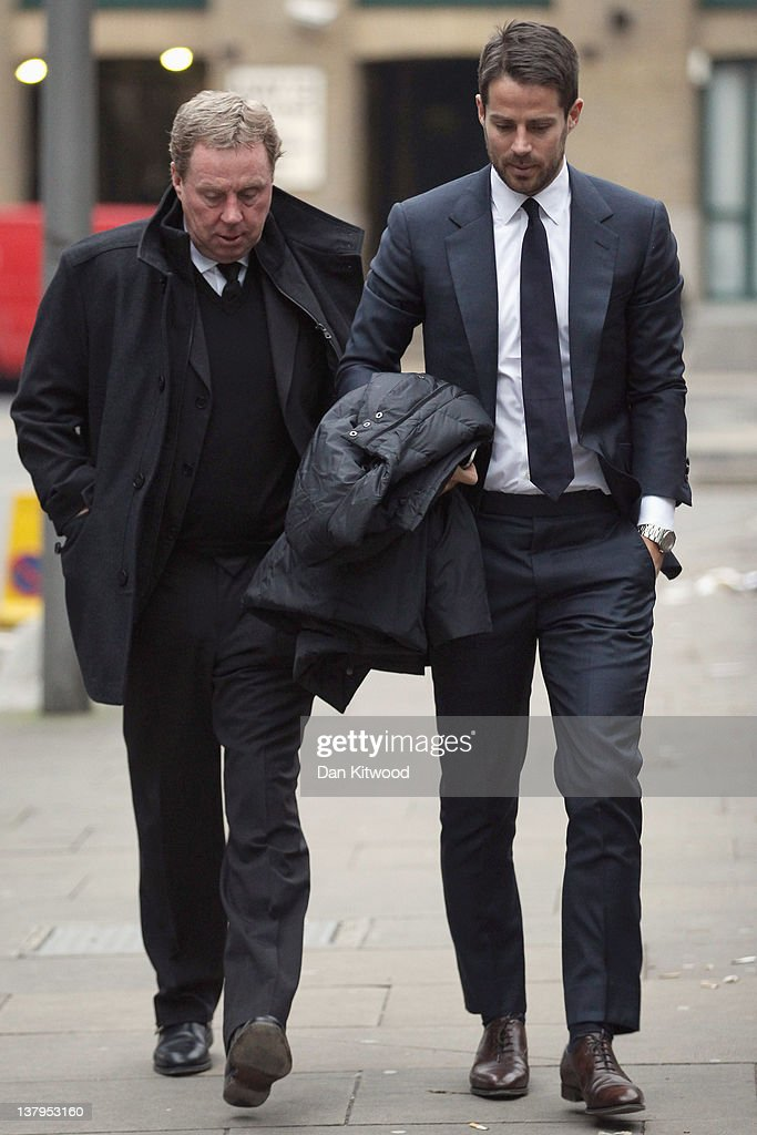 Tottenham Hotspur FC manager Harry Redknapp arrives at Southwark Crown Court with his son Jamie Redknapp on January 30 2012 in London England...