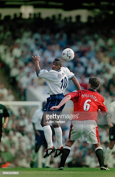Tottenham Hotspur FC play Manchester United FC in the FA Carling Premiership at White Hart Lane London 10th August 1997 Les Ferdinand of Spurs and...
