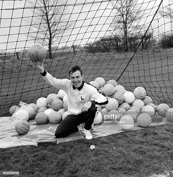 Tottenham Hotspur football player Jimmy Greaves posing in goal during a training session London 24th november 1963