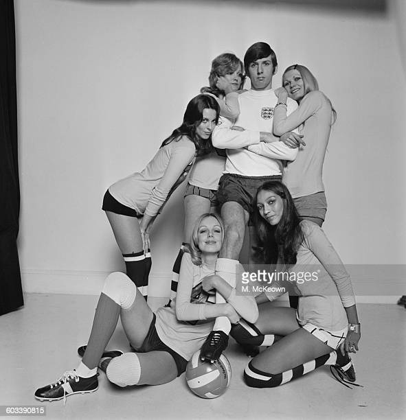 Tottenham Hotspur footballer Martin Peters surrounded by members of the Lumley Lovers ladies football team Jackie Moody Bonnie Sarah Clark Kellie and...