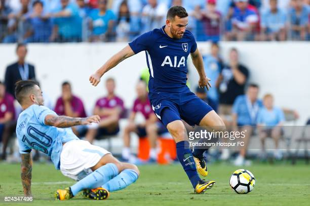 Tottenham Hotspur forward Vincent Janssen battles with Manchester City defender Nicolas Otamendi during the International Champions Cup 2017 at...