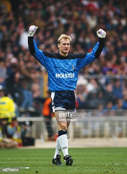 Tottenham Hotspur goalkeeper Erik Thorstvedt celebrates during the 1991 FA Cup semi final against Arsenal at Wembley on April 14 1991 in London...