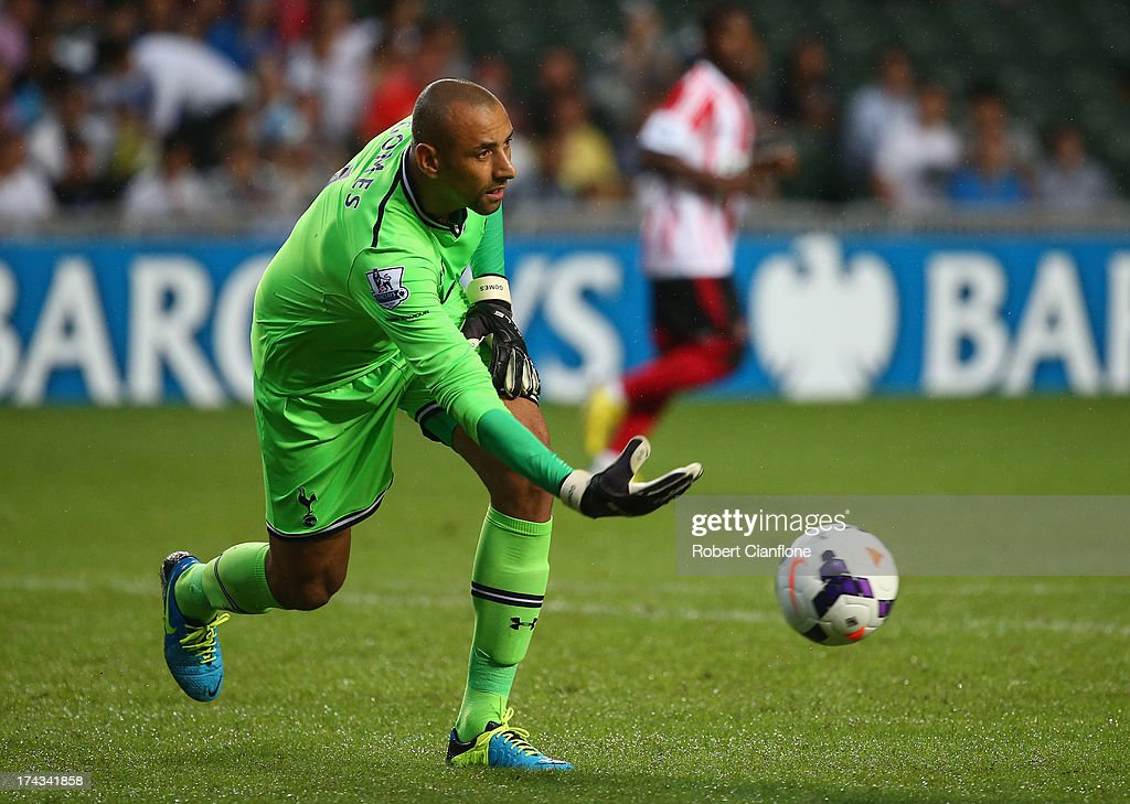 Tottenham Hotspur goalkeeper Heurelho Gomes releases the ball during the Barclays Asia Trophy Semi Final match between Tottenham Hotspur and Sunderland at Hong Kong Stadium on July 24, 2013 in So Kon Po, Hong Kong.