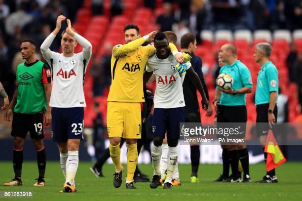 Tottenham Hotspur goalkeeper Hugo Lloris and Davinson Sanchez after the Premier League match at Wembley Stadium London