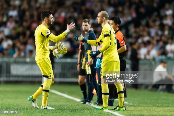 Tottenham Hotspur Goalkeeper Hugo Lloris and Tottenham Hotspur Goalkeeper Pau Lopez during the Friendly match between Kitchee SC and Tottenham...