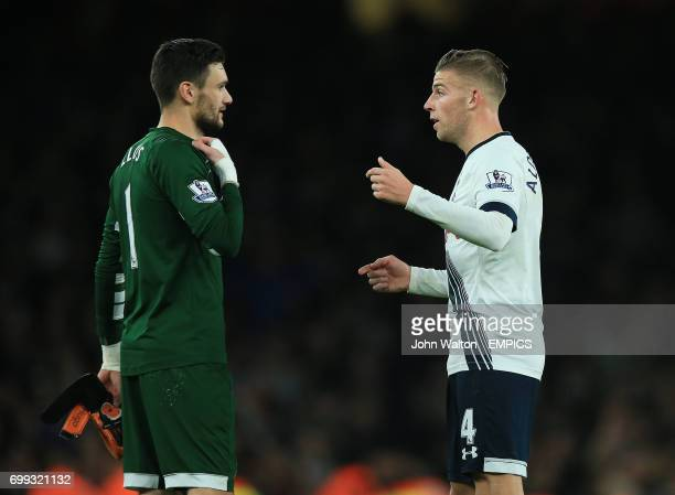 Tottenham Hotspur goalkeeper Hugo Lloris and Tottenham Hotspur's Toby Alderweireld speak after the final whistle