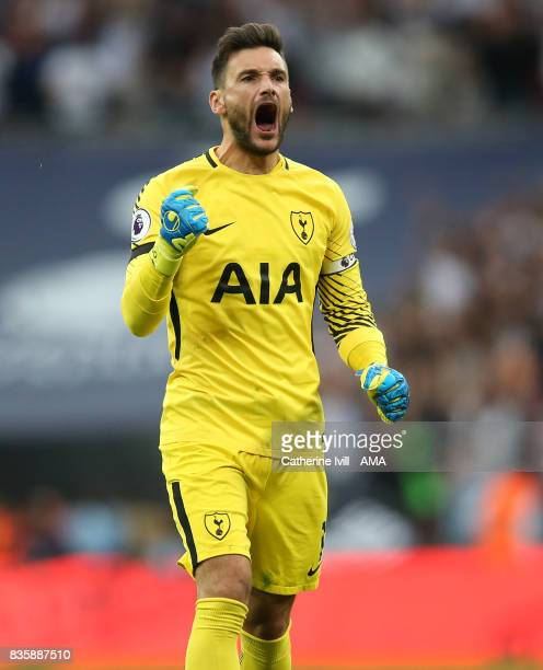 Tottenham Hotspur goalkeeper Hugo Lloris celebrates during the Premier League match between Tottenham Hotspur and Chelsea at Wembley Stadium on...