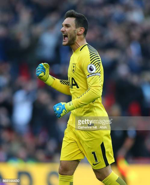Tottenham Hotspur goalkeeper Hugo Lloris celebrates during the Premier League match between Tottenham Hotspur and Liverpool at Wembley Stadium on...