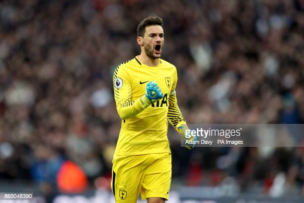 Tottenham Hotspur goalkeeper Hugo Lloris celebrates Harry Kane scoring the forth goal of the game during the Premier League match at the Wembley...