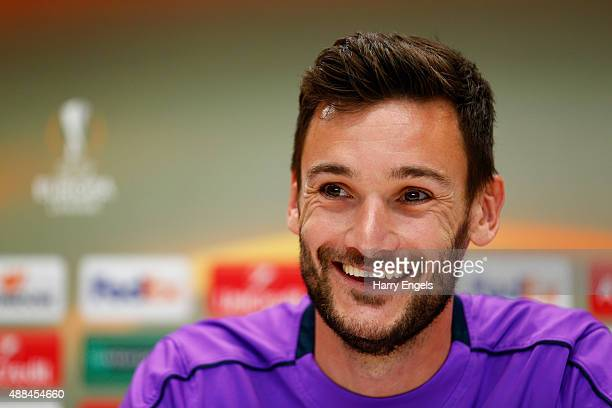 Tottenham Hotspur goalkeeper Hugo Lloris speaks during a press conference at the Tottenham Hotspur training ground on September 16 2015 in Enfield...