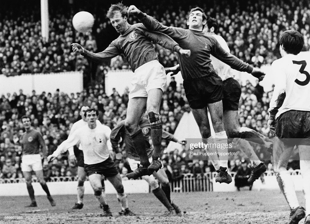 Tottenham Hotspur goalkeeper <a gi-track='captionPersonalityLinkClicked' href=/galleries/search?phrase=Pat+Jennings&family=editorial&specificpeople=225090 ng-click='$event.stopPropagation()'>Pat Jennings</a> punches the ball away from the goal and clear of Leeds United player <a gi-track='captionPersonalityLinkClicked' href=/galleries/search?phrase=Jack+Charlton&family=editorial&specificpeople=453447 ng-click='$event.stopPropagation()'>Jack Charlton</a> during a Tottenham v Leeds United match at White Hart Lane in London on January 18th 1969.