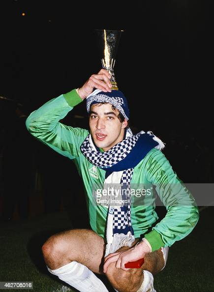 Tottenham Hotspur goalkeeper Tony Parks holds a trophy after saving the crucial penalty in the penalty shoot out of the UEFA Cup Final Second Leg...