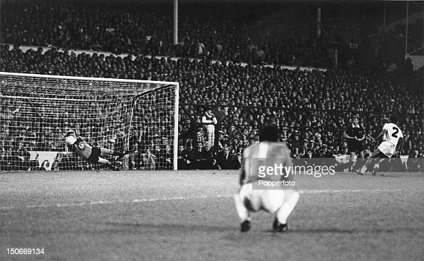 Tottenham Hotspur goalkeeper Tony Parks watches as his RSC Anderlecht counterpart Jacky Munaron saves the fifth Spurs penalty kick taken by Danny...