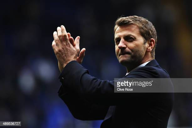 Tottenham Hotspur interim manager Tim Sherwood acknowledges his sides fans following the Barclays Premier League match between Tottenham Hotspur and...