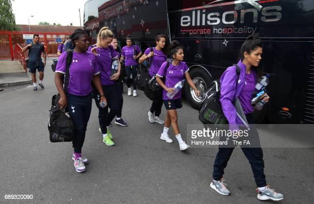 Tottenham Hotspur ladies arrive the FA Women's Premier League Playoff Final between Tottenham Hotspur Ladies and Blackburn Rovers Ladies at The...