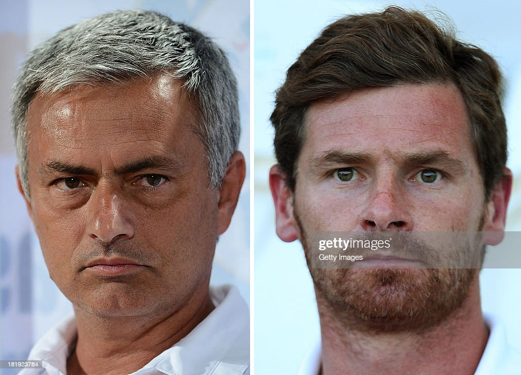 IMAGES - Image Numbers 173766738 (L) and 174029218) In this digital composite a comparison has been made between Jose Mourinho, Manager of Chelsea (L) and Andre Villas-Boas, Manager of Tottenham Hotspur. The Premiership match between Tottenham Hotspur and Chelsea takes place on the September 28, 2013 at White Hart Lane,London. COLCHESTER, ENGLAND - JULY 19: Tottenham Hotspur manager, Andre Villas Boas looks on during a pre season friendly match between Colchester United and Tottenham Hotspur at the Colchester Community Stadium on July 19, 2013 in Colchester, England.