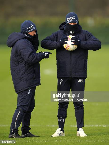 Tottenham Hotspur manager Andre VillasBoas and First team coach Luis Martins during a training session at Enfield training ground London