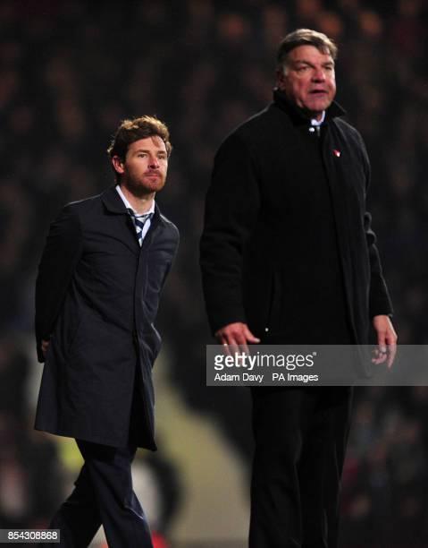 Tottenham Hotspur manager Andre VillasBoas and West Ham United manager Sam Allardyce on the touchline