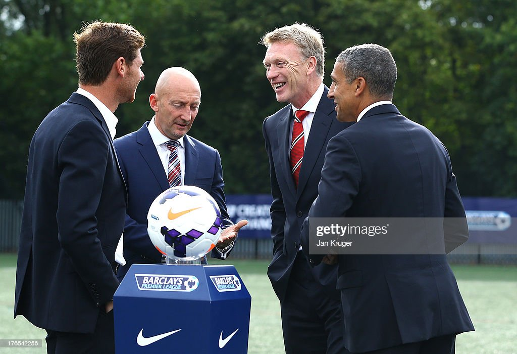 Tottenham Hotspur Manager Andre Villas-Boas, Crystal Palace Manager Ian Holloway, Manchester United Manager David Moyes and Norwich City Manager Chris Hughton have a chat uring the Official Premier League Season Launch Media Event at Bacon's College on August 15, 2013 in London, England.