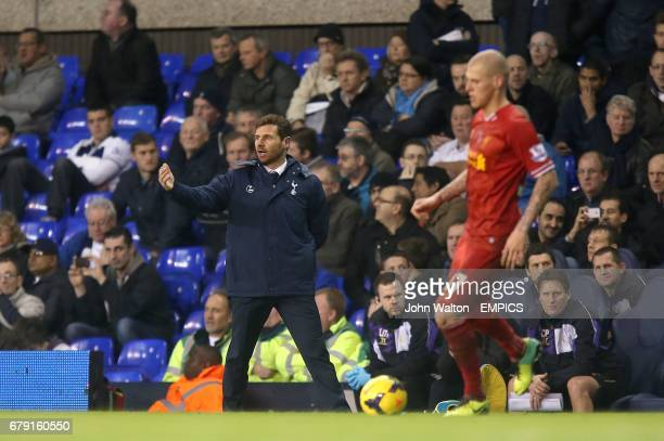 Tottenham Hotspur manager Andre VillasBoas on the touchline as Liverpool's Martin Skrtel plays the ball