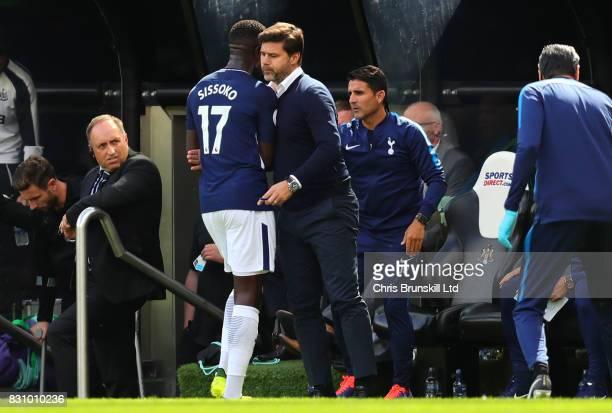 Tottenham Hotspur Manager / Head Coach Mauricio Pochettino substitutes Moussa Sissoko of Tottenham Hotspur during the Premier League match between...
