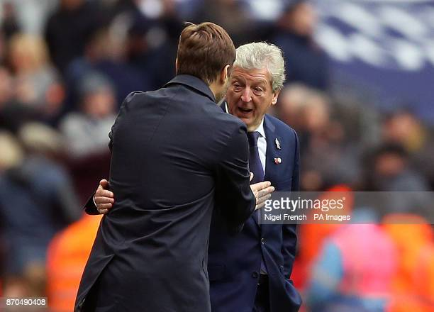 Tottenham Hotspur manager Mauricio Pochettino and Crystal Palace manager Roy Hodgson shake hands after the Premier League match at Wembley Stadium...