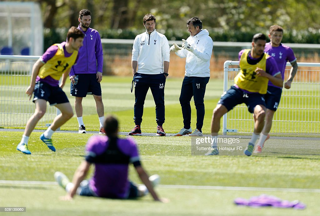Tottenham Hotspur manager Mauricio Pochettino, Goalkeeping coach Toni Jiminez and Hugo Lloris during training on May 4, 2016 in Enfield, England.