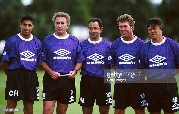 Tottenham Hotspur mananger Osvaldo Ardiles with his coaching staff including former players Chris Hughton and Steve Perryman circa 1993