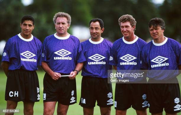 Tottenham Hotspur mananger Osvaldo Ardiles with his coaching staff including former players Chris Hughton and Steve Perryman circa 1993