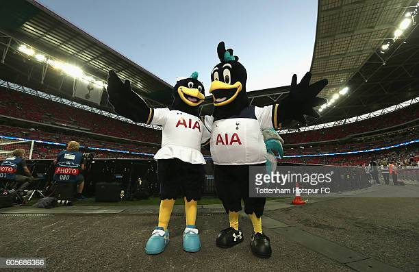 Tottenham Hotspur mascots pose for a photograph prior to the UEFA Champions League match between Tottenham Hotspur FC and AS Monaco FC at Wembley...