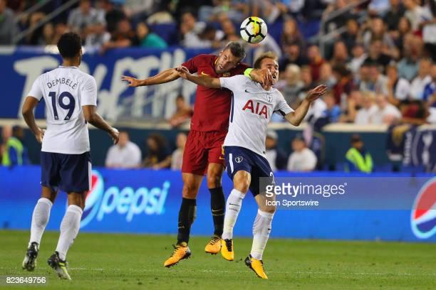 Tottenham Hotspur midfielder Christian Eriksen battles Roma midfielder Kevin Strootman during the second half of the International Champions Cup...