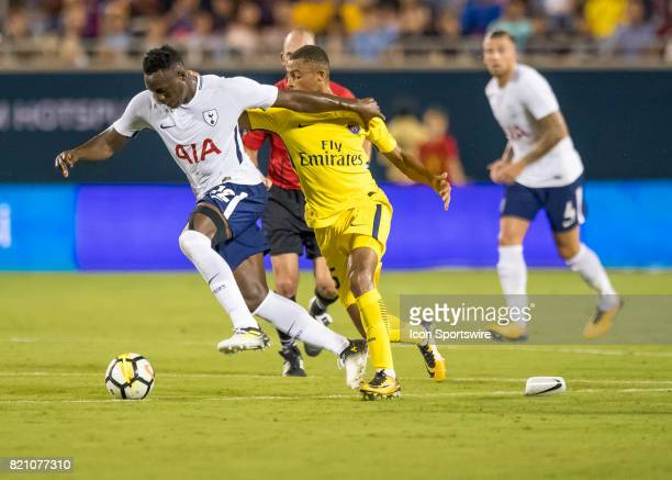 Tottenham Hotspur midfielder Victor Wanyama drives to the box during the International Champions Cup match between Tottenham Hotspur and Paris St...
