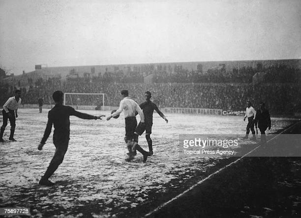 Tottenham Hotspur play Clapton Orient on a frosty pitch at White Hart Lane London 3rd February 1912