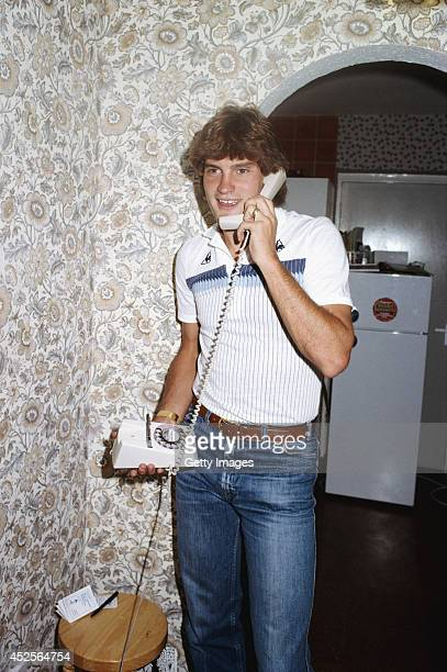 Tottenham Hotspur player Glenn Hoddle on the telephone during an at home feature circa 1982