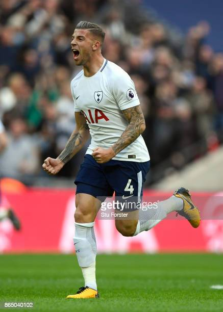 Tottenham Hotspur player Toby Alderweireld celebrates the first Spurs goal during the Premier League match between Tottenham Hotspur and Liverpool at...