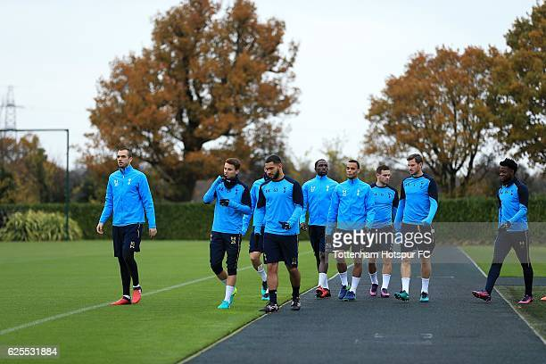 Tottenham Hotspur players during a training session at the clubs' training ground on November 24 2016 in Enfield England
