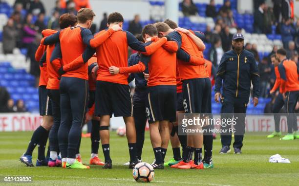 Tottenham Hotspur players huddle prior to The Emirates FA Cup QuarterFinal match between Tottenham Hotspur and Millwall at White Hart Lane on March...