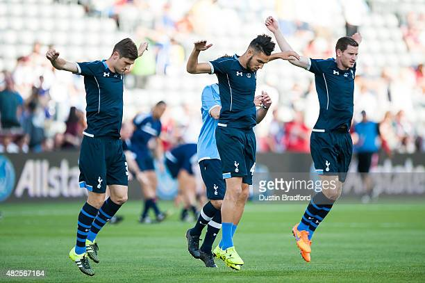 Tottenham Hotspur players including Ben Davies Nabil Bentaleb and Jan Vertonghen warm up on the pitch before the 2015 ATT Major League Soccer AllStar...