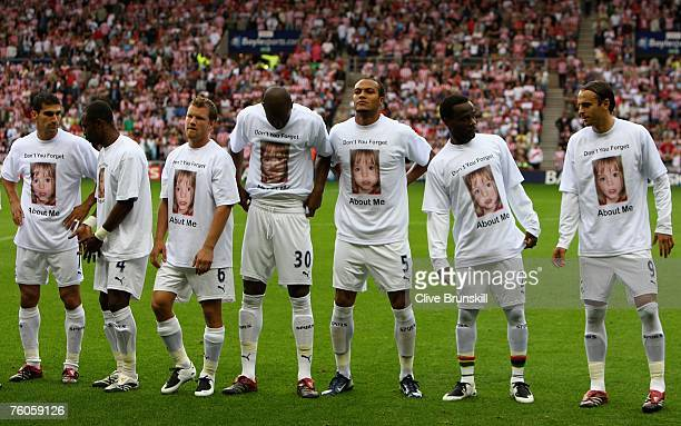 Tottenham Hotspur players line up in Madeleine McCann tee shirts prior to the Barclays Premier League match between Sunderland and Tottenham Hotspur...