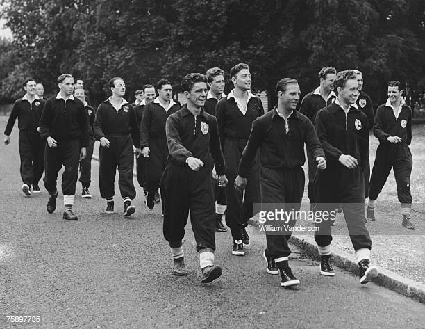 Tottenham Hotspur players out for a training walk in Epping Forest 23rd July 1951 They are led by forward Eddie Bailey