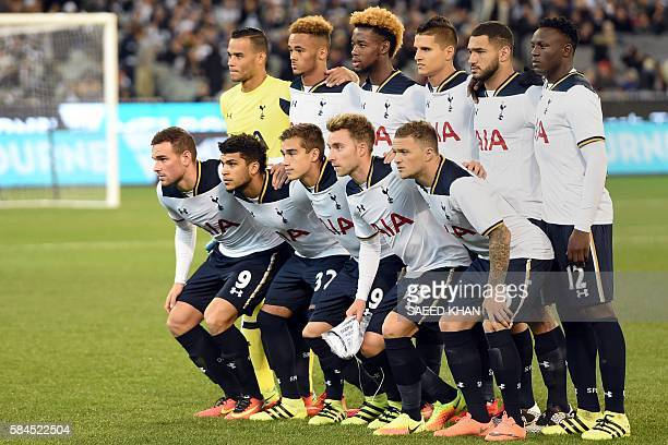 Tottenham Hotspur players pose for a team photo prior to the International Champions Cup football match between English Premier League team Tottenham...