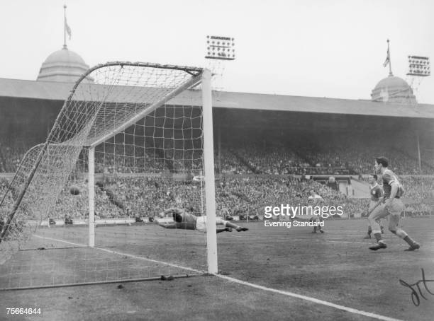 Tottenham Hotspur scoring a goal during the F A Cup final against Leicester City at Wembley Stadium 6th May 1961 Spurs won the match 20