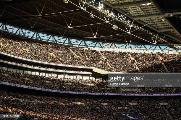 Tottenham Hotspur supporters are seen at the stands during the Premier League match between Tottenham Hotspur and Liverpool at Wembley Stadium on...