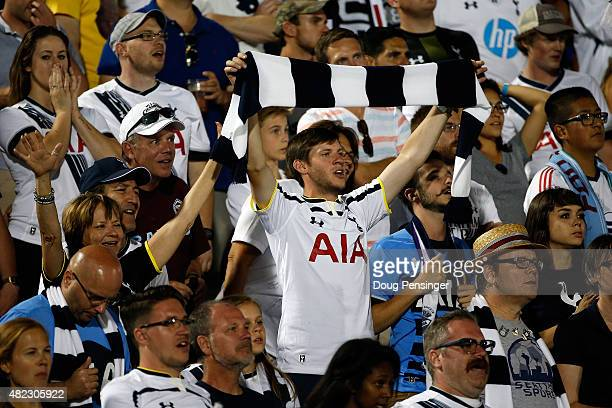 Tottenham Hotspur supporters cheer their team as they face the MLS AllStars during the 2015 ATT Major League Soccer AllStar game at Dick's Sporting...